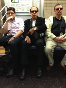 If these men would just sit on each others' laps, two more women could sit down.