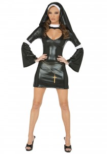 Call me crazy but vinyl doesn't seem to be part of their dress code. (Sexy Nun Adult Costume.com)
